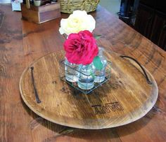 French / American Oak wine barrel top / head / lid / serving tray / platter, with a set of carry handles