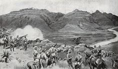 Naval Guns firing across the Tugela River at the Battle of Spion Kop on January 1900 in the Boer War: picture by Frank Dadd British Soldier, Battle, African, War, History, Guns, River, Pictures, January