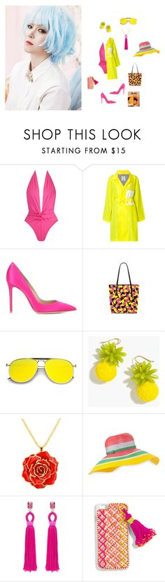 """Colorful beach"" by sebastians ❤ liked on Polyvore featuring Norma Kamali, P.A.M., Gianvito Rossi, J.Crew, Missoni, Oscar de la Renta and BaubleBar"