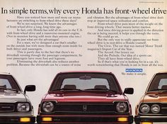"""""""In simple terms, why every Honda has front, wheel drive."""" 1980 Honda Civic ad. #whataride"""