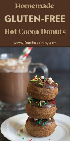 These delicious bite-sized donuts taste just like hot cocoa! If you love hot chocolate, these gluten free hot cocoa donuts are for you. Dipped in chocolate and decorated with marshmallows and sprinkles. Easy to use a donut maker or donut pan. fearlessdining Gluten Free Chocolate Cake, Chocolate Donuts, Chocolate Desserts, Hot Chocolate, Donut Maker, Gluten Free Donuts, Donut Recipes, Butter Recipe, Baking Tips