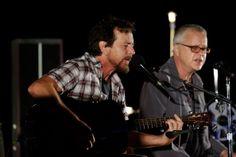Eddie Vedder and Tim Robbins peform onstage during Eddie Vedder and... News Photo 180672598