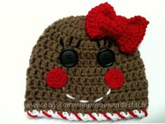 Gingerbread man or girl crochet hat by hookandastitch on Etsy, $15.00