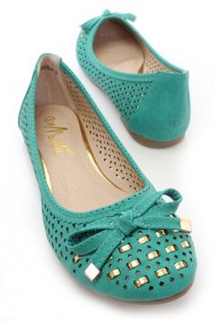 Turquoise Perforated Flats