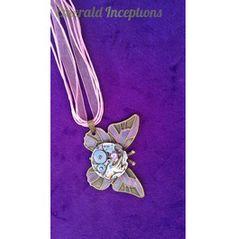 Pink Butterfly Clockwork Pendant Necklace