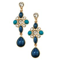 "Floral Embellished Statement Earrings - Dangle earrings, with faux stones and rhinestones set in goldtone. 2 1/2"" L, pierced."