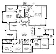 Home Plans HOMEPW15087 - 3,297 Square Feet, 5 Bedroom 3 Bathroom Traditional Home with 3 Garage Bays
