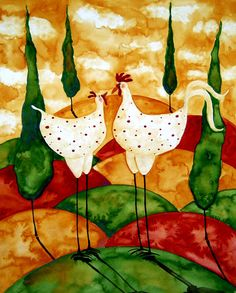 rooster and chickens painting books | Art Folk Prints Whimsical Farm Animals Italian Tuscan Chicken Rooster ...