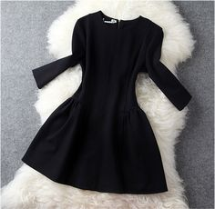 Long Sleeve Dress In Black HJ06KU