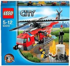"""LEGO City Fire Helicopter 60010 by LEGO. $58.99. LEGO City Fire Helicopter 60010. Pieces:232. Includes 2 minifigures: pilot and a firefighter with fire extinguisher. Features spinning rotors, water cannon with water element and winch function. Factory features barrels, flame elements and an antenna. Operate the LEGO Power Functions winch to lower the firefighter. Measures over 5"""" (13cm) high, 12"""" (33cm) long and 10"""" (26cm) wide. Factory measures over 4"""" (12cm) high, 2"""" (..."""