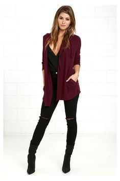 Maroon Cardigan Outfit, Burgandy Cardigan, Burgundy Outfit, Pullover Outfit, Cardigan Outfits, Hooded Cardigan, Cardigan Sweaters, Marled Sweater, Winter Mode Outfits