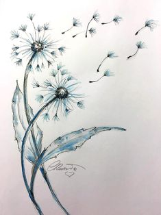 Items similar to Watercolor Dandelions Limited Edition Print Watercolor Painting Fine Art Print Size Nature watercolor Painting Blue Dandelions on Etsy Watercolor Paintings Nature, Ink Painting, Watercolor And Ink, Watercolor Disney, Abstract Paintings, Art Paintings, Landscape Paintings, Dandelion Drawing, Dandelion Painting