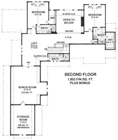 This craftsman design floor plan is 4739 sq ft and has 3 bedrooms and has bathrooms. Loft Railing, Open Concept Floor Plans, Craftsman Style House Plans, Block Island, Cool House Designs, Cabin Plans, Square Feet, Second Floor, Great Rooms