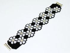 Free pattern for beaded bracelet Bloom Grey | Beads Magic