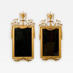 Pair of George III Giltwood and Gilt-Composition Pier Mirrors by