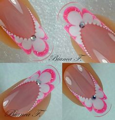 Neon Pink French Nails With Scalloped Edge And Crystal Accents