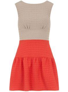 Coral contrast V back dress