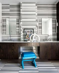 Artistic Tile I With natural linear veining, Marmara marble makes a bold and versatile backdrop, as illustrated in this stunning feature wall by Alison Rose!