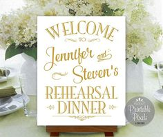Rehearsal Dinner Sign Welcome Gold Printable Personalized with Names (#REH1G)
