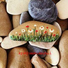 My painted stone! Wild flowers! Daisies! Taş boyama papatyalar, kır çiçekleri.