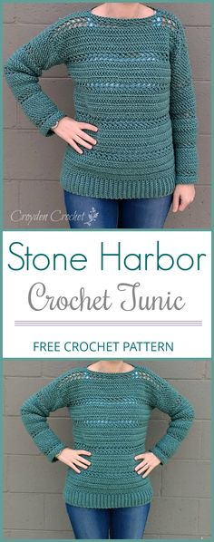 A free crochet pattern for the Stone Harbor Crochet Tunic Sweater. Pattern by Croyden Crochet using Vanna's Choice yarn. #Tunic #Sweater #Croydencrochet #freecrochetpattern