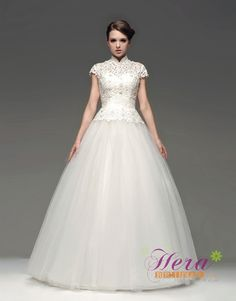 Royal High-Neck Short Sleeves Ball Gown Lace Wedding Dress