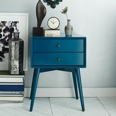 Blue Furniture Collection that Can Light up Your Mood: Mid Century Modern Style Nightstand Finished With Blue Drawer Design Ideas With Large Tile Flooring Unit Design Ideas Plan ~ FreeSharing Furniture Inspiration Blue Furniture, Find Furniture, Painted Furniture, Furniture Design, Bedroom Furniture, Diy Bedroom, Bedroom Ideas, Furniture Outlet, Furniture Stores