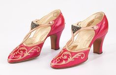 Shoes, Evening  Marshall Field & Co.  (American, founded 1881)    Date:      ca. 1927  Culture:      French  Medium:      leather, rhinestones  Dimensions:      5 x 8 1/2 in. (12.7 x 21.6 cm)