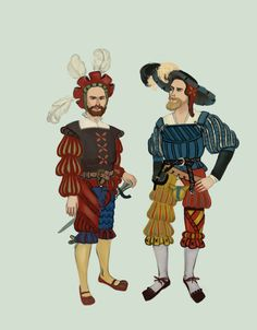 Landsknecht were German mercenaries, they were formed in 1487 and continued into 16th century. Landknechts' style inspired half of Europe in 16th century. Landsknechts wore very elaborate fashions, full of slashing and colors. They were exempted from sumptuary laws by emperor Maximillian I. They were accompanied by Kampfrauen by Tadarida.deviantart.com on @DeviantArt