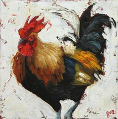 Rooster 592 oil painting by Roz, via Etsy.