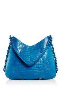 Crocodile Chain Link Blue Hobo Bag - Nancy Gonzalez Resort 2016 - Preorder now on Moda Operandi