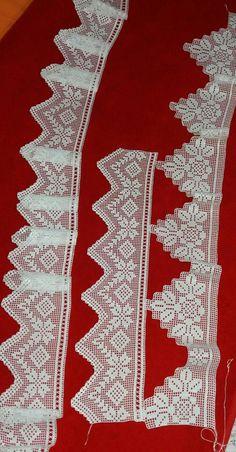 Hand crocheted border fillet crochet lace trim linear or Filet Crochet, Crochet Lace Edging, Crochet Borders, Crochet Cross, Hand Crochet, Crochet Patterns, Crochet Curtains, Crochet Tablecloth, Crochet Dollies