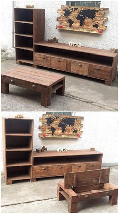 The set made at home is always impressive because it is created with the design that comes in the mind of the creator and it is cannot be seen in the market. You can see the recycled wood pallets TV stand and table; it is making the area look great as all the furniture pieces are matching.
