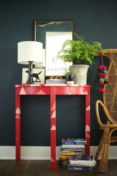 Abstract triangle side table makeover via Emily Henderson