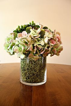 DIY floral arrangement with Spanish moss and Hydrangeas.