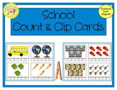 FREEBIE!!!  Practice counting 1 to 20 with School Clip Cards.