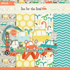 **Limited Edition Free Mini Kit!**    Let's hit the road! This fun kit full of adorable illustration and fresh colors is sure to get you where you are going in style!    Includes: 4 Patterned Papers, 5 Car Stickers, 2 Arrows, Traffic Light, 3 Street Signs, 2 Ribbons, Ribbon Frame, 3 Buttons