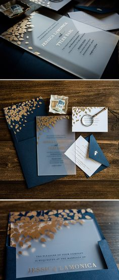 Acrylic foil wedding invitation