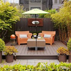 Use all-weather deck material to create an elevated patio for your garden this summer. Click here for more outdoor living space tips and tricks: http://www.bhg.com/home-improvement/porch/outdoor-rooms/small-outdoor-living-spaces/?socsrc=bhgpin031915elevatedpatio&page=8