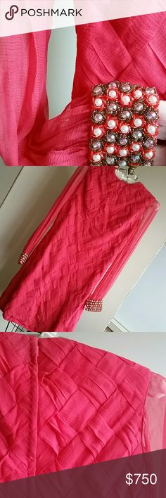 Hand Made Vintage Chiffon Silk Dress w/ Beaded Cuf Elegantly crafted, folded and then woven body, excellent never worn condition, bead worked cuff.  Salmon color. Size 0 or 2. Details for interested buyers. Custom Made Dresses