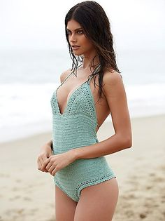 Malikah One Piece   Artisan handmade crochet one piece with a low scoop back, adjustable straps and cheeky fit. Plunging neckline with triangle cups and dip dye tassel ends. Lined.