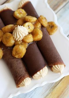 CHOCOLATE CREPES WITH PEANUT BUTTER MARSHMALLOW FILLING AND CARAMELIZED BANANAS!