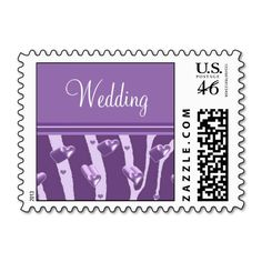 Purple Hearts and Zebra Pattern Wedding Postage