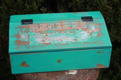 VINTAGE Shabby CHIC TURQUOISE Wooden Recipe Box - Reclaimed Upcycled - Vintage Floral - Rustic Farmhouse Chic - Bohemian Boho Beach