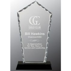 Our Diamond Facet Glass Award features a clear piece of glass