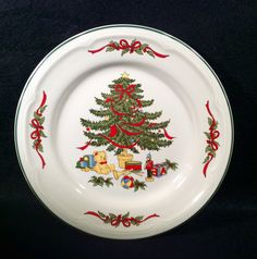 Vitromaster CHRISTMAS TREE Lot of 4 Salad Plates Dinnerware Tree in Center Holly Ribbons on Rim, Green trim MINT Condition by libertyhallgirl on Etsy $19.99 for all four