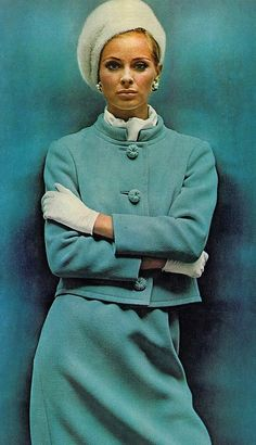Camilla Sparv wearing wool suit buttons by Seymour Fox photo Helmet Newton 1965