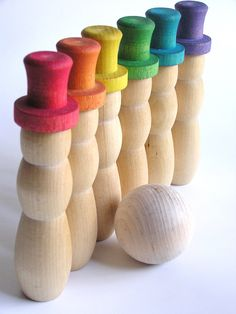 Wooden Toy Rainbow SNOW MAN Bowling Game by applenamos on Etsy