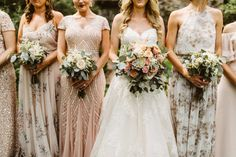 Pretty patterned bridesmaids dresses. Boho style bridal bouquets in peach and champagne.