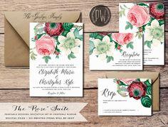 Printable Wedding Invitation Suite Floral wedding invite vintage style, rustic wedding RSVP card DIY digital invitation set Printable Wisdom